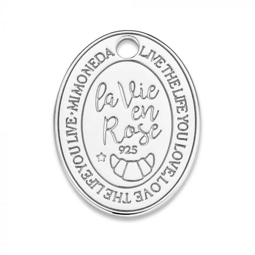 Mi Moneda-MMM ROSE TAG OVAL 20MM 925 SILVER