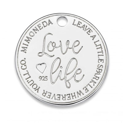 Mi Moneda-MMM LOVE LIFE TAG ROUND DELUXE 20MM 925 SILVER WITH SWAROVSKI CRYSTAL