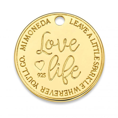 Mi Moneda-MMM LOVE LIFE TAG ROUND DELUXE 20MM 925 SILVER GOLD PLATED WITH SWAROVSKI CRYSTAL