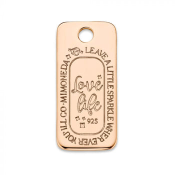 Mi Moneda-MMM LOVE LIFE TAG SQUARE 925 SILVER ROSEGOLD PLATED
