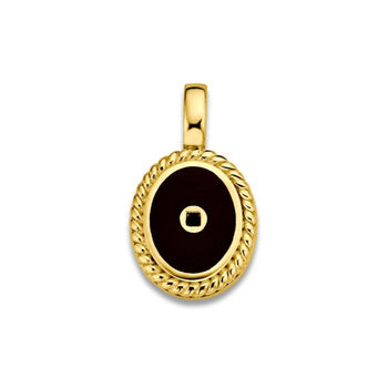 Mi Moneda-MMV ICONS PENDANT OVAL 925 SILVER GOLD PLATED WITH BLACK ENAMEL