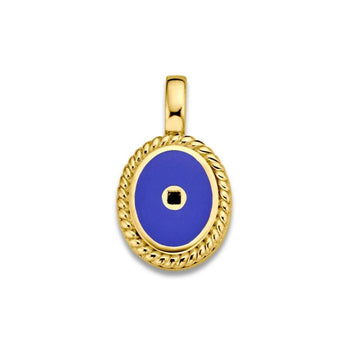 Mi Moneda-MMV ICONS PENDANT OVAL 925 SILVER GOLD PLATED WITH PACIFIC BLUE ENAMEL