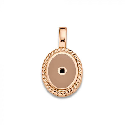 Mi Moneda-MMV ICONS PENDANT OVAL 925 SILVER ROSEGOLD PLATED WITH SMOKEY ENAMEL