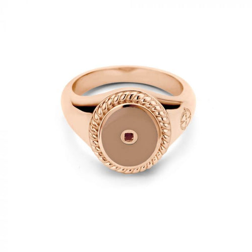 Mi Moneda-MMV ICONS RING OVAL 925 SILVER ROSEGOLD PLATED WITH SMOKEY ENAMEL
