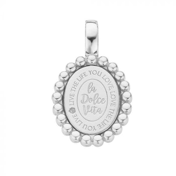 Mi Moneda-MMV SOHO PENDANT 925 SILVER OVAL SHAPED WITH TWISTED CORD