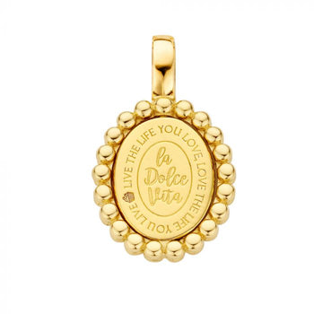 Mi Moneda-MMV SOHO PENDANT 925 SILVER GOLD PLATED OVAL SHAPED WITH TWISTED CORD