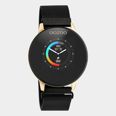 OOZOO Zwart metal strap DISPLAY SMARTWATCH Q00118