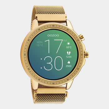 OOZOO Smartwatches - unisex - metal mesh strap rose gold with rose gold case Q00307