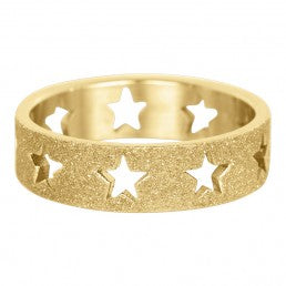 iXXXi invulring Open Stars Sanblasted Goud R3601-1 6mm
