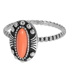 iXXXi invulring Indian White, Coral of Turquoise R05908 Zilver (2MM)
