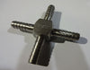 "1/4"" BARB CROSS, STAINLESS (QUANTITY/4)"