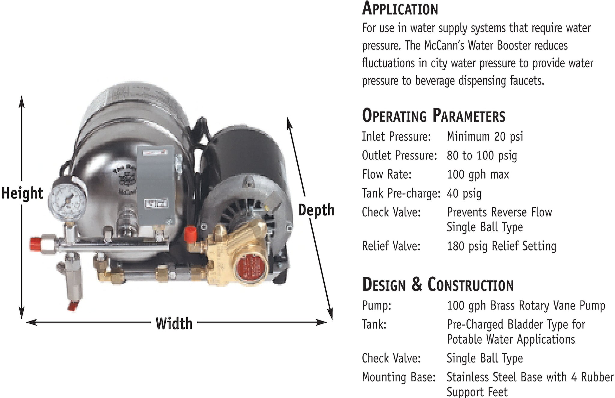 McCANN 2 & 4.4 GALLON WATER BOOSTER SYSTEM
