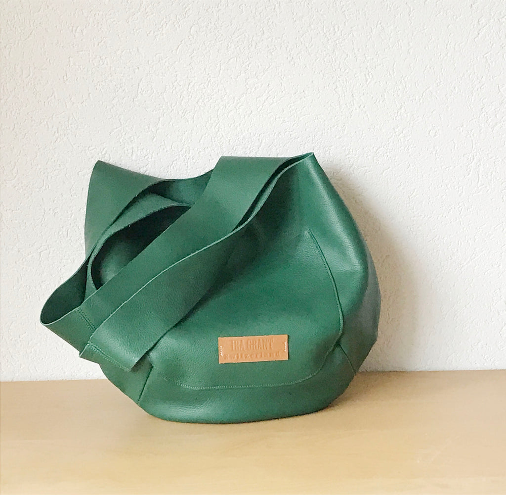 Aurelie Leather Bag in Green Italian Leather