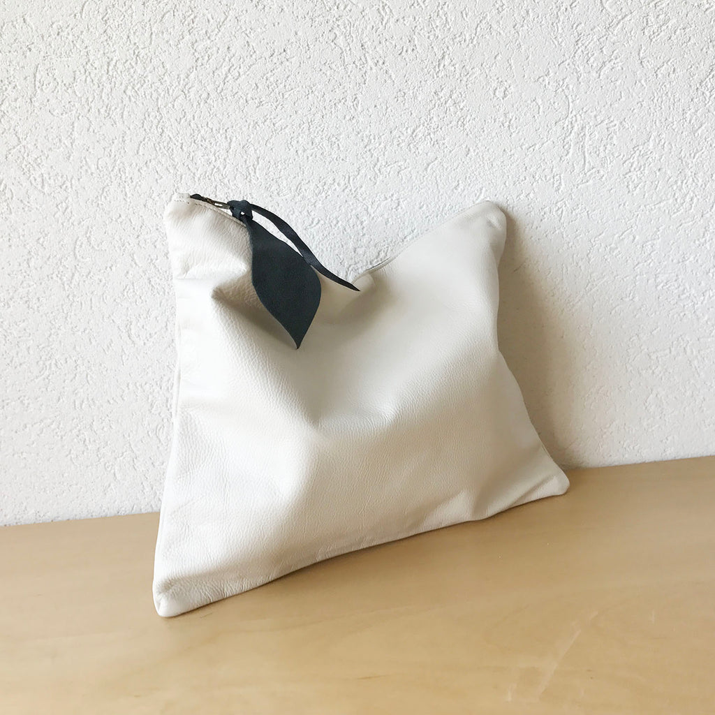 Tealine Large Leather Clutch in White Colour