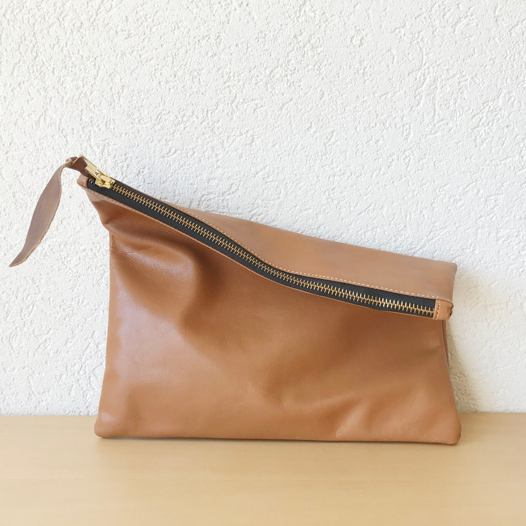 Tealine Leather Clutch