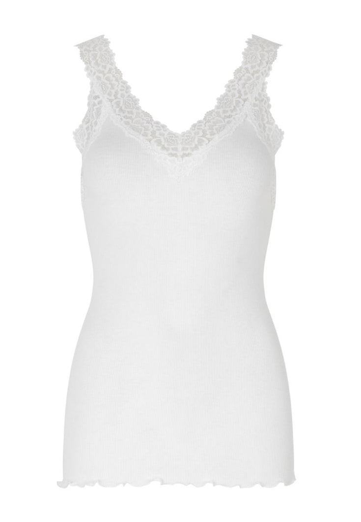 Organic top v-neck regular w/lace