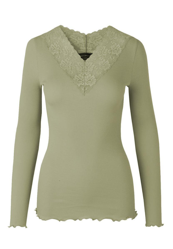 Organic t-shirt regular ls w/lace