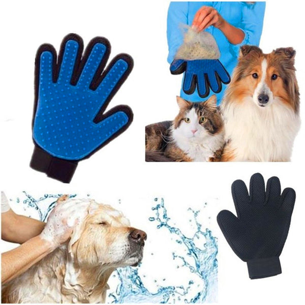 True Touch Silicone Pet Grooming Glove And Massager - Gadget Idol