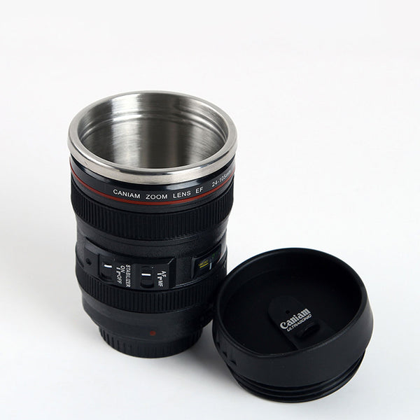 Camera Lens Travel Mug Stainless Steel - Gadget Idol