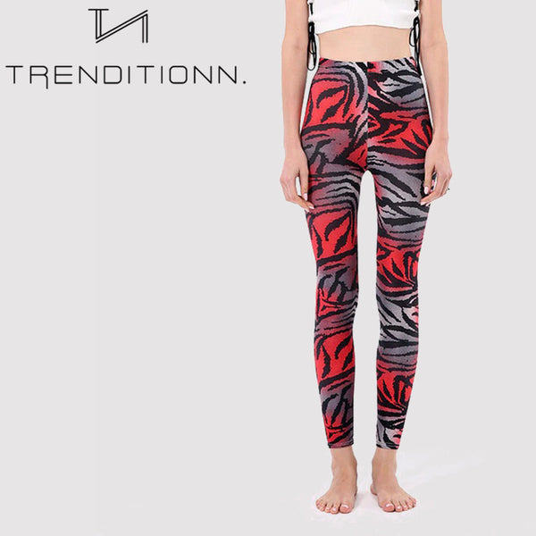 Buttery Soft Neon Zebra Stripes Printed Leggings