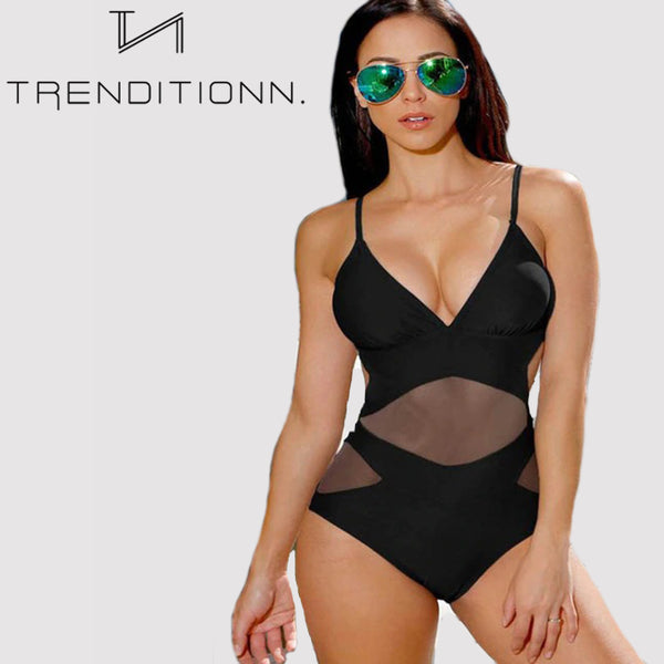 One Piece Mesh Bathing Suit
