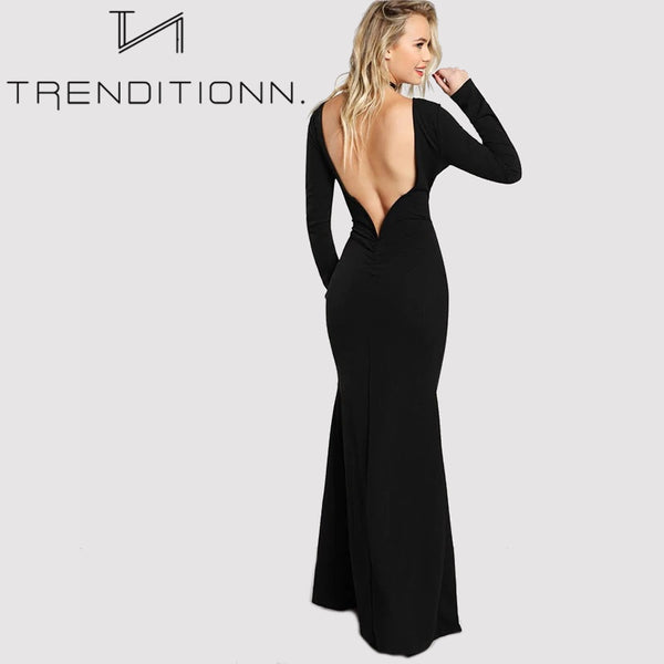 Open Back Bodycon Maxi Dress