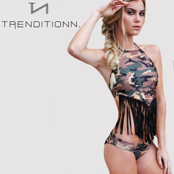 Halter Army Green Bikini Set