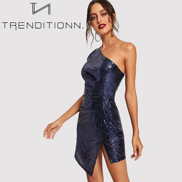 One Shoulder Sexy Winter Sequin Dress