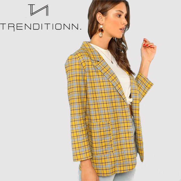 Elegant Notch Collar Pocket Blazer