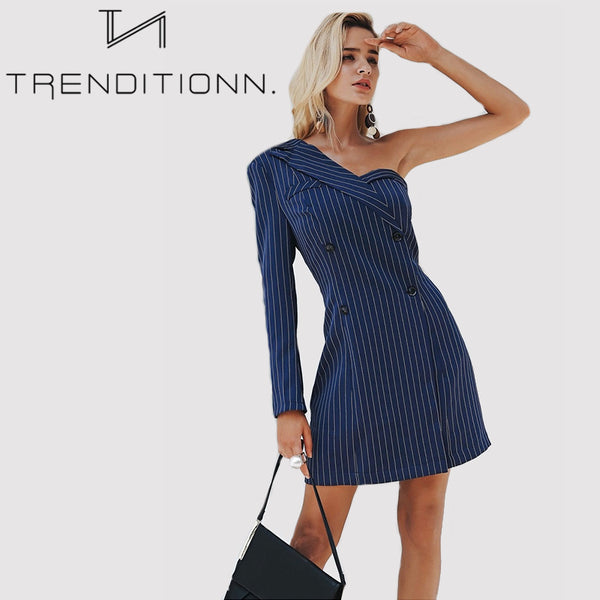 One Shoulder Striped Suit Dress