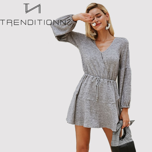 Knitted Sleeve Sweater Dress
