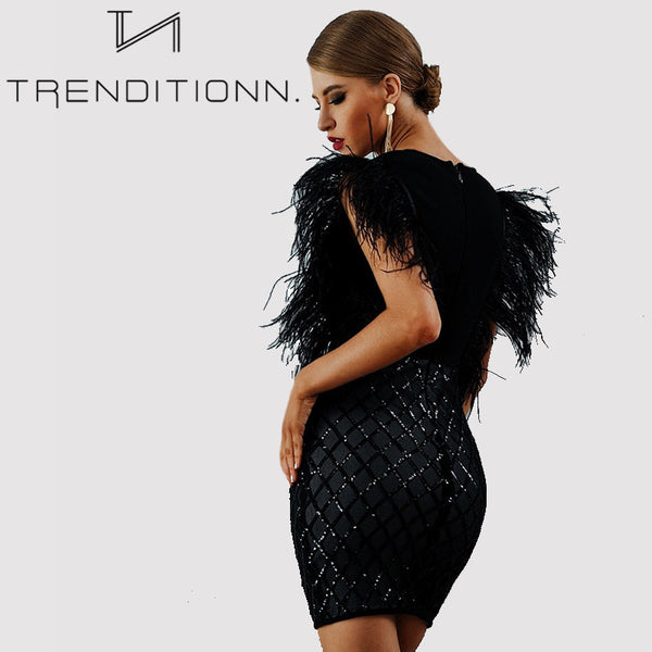 Sexy Feather Celebrity Party Dress