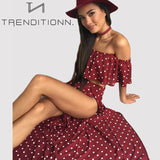 Off Shoulder Red Vintage Dot Long Dress
