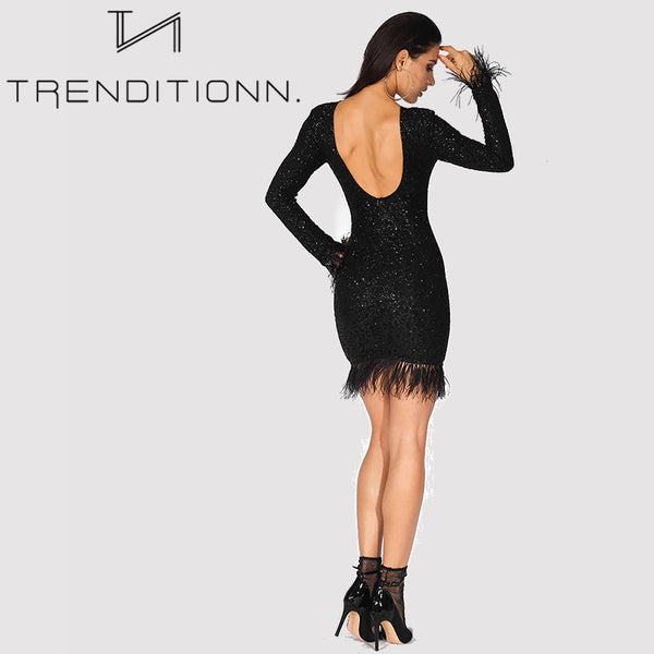 Sexy Feathers Low Back Glitter Bodycon Dress