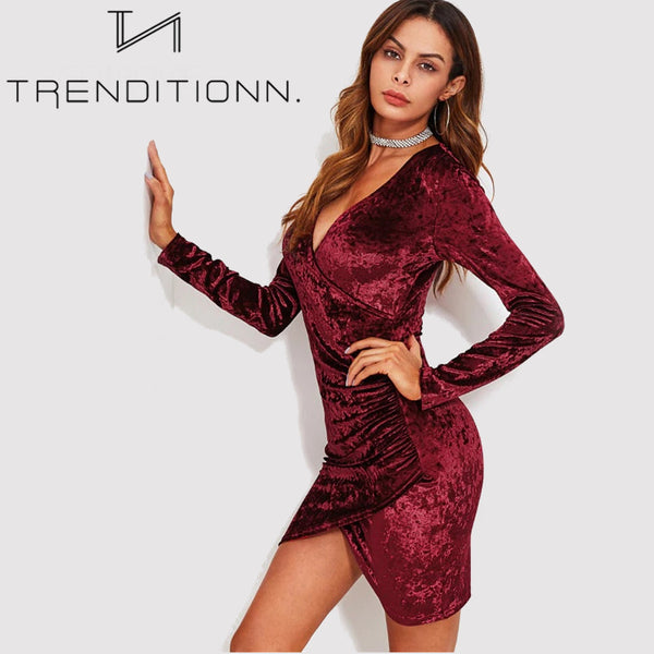 Crushed Velvet Sexy Ruched Dress