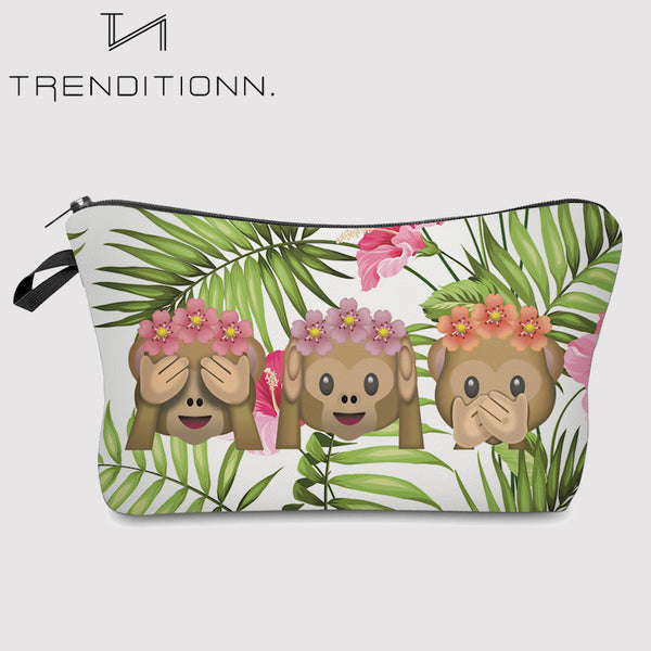 Make up bag with monkey emoji