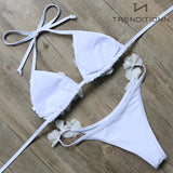 Triangle bikini with flowers | Trenditionn.