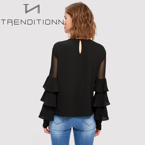 Black blouse with flare sleeves