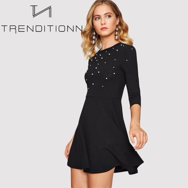 Fitted skater dress with pearls