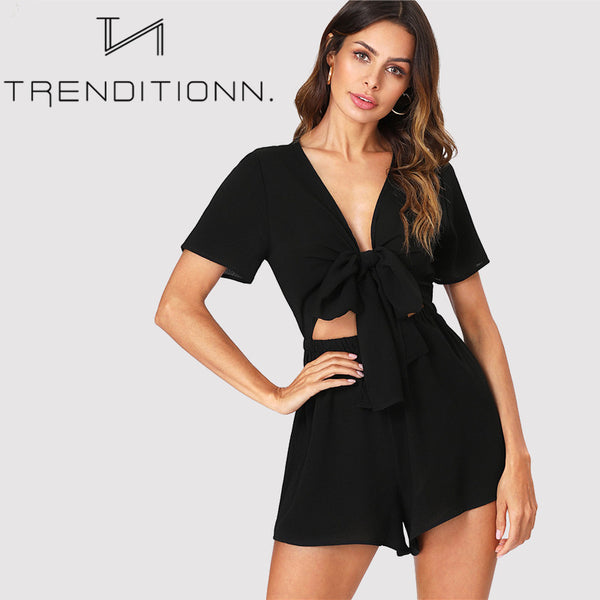 Black bow romper