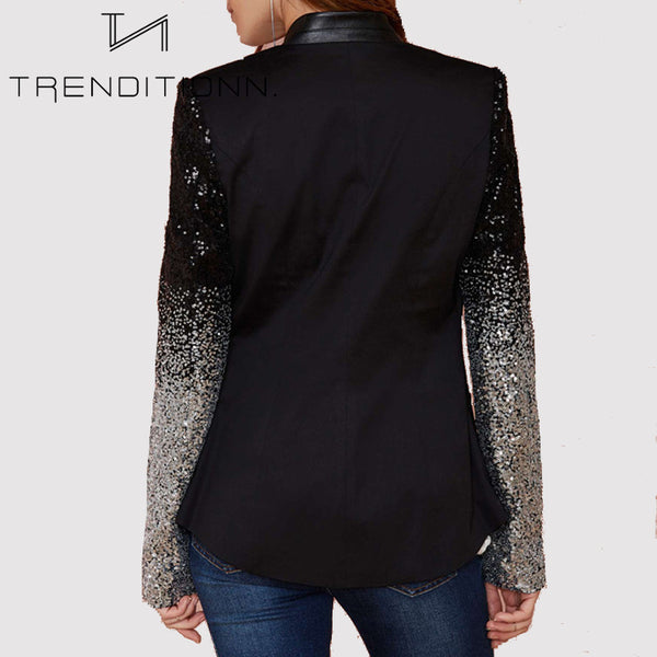 Blazer with glitter sleeves