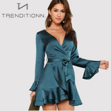 Split Back Ruffle Trim Belted Dress