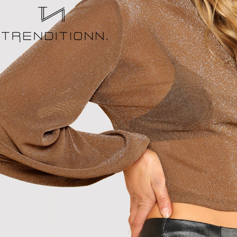 Brown see through sparkle top