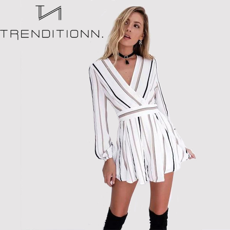 Striped v-neck playsuit