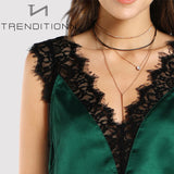 Lace v-neck silk top