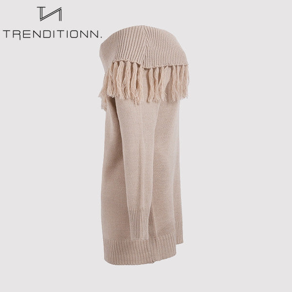 Knitwear sweater dress with off shoulder | Trenditionn.