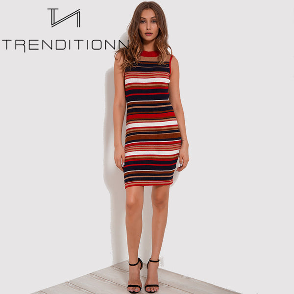 Colorful striped knitted dress