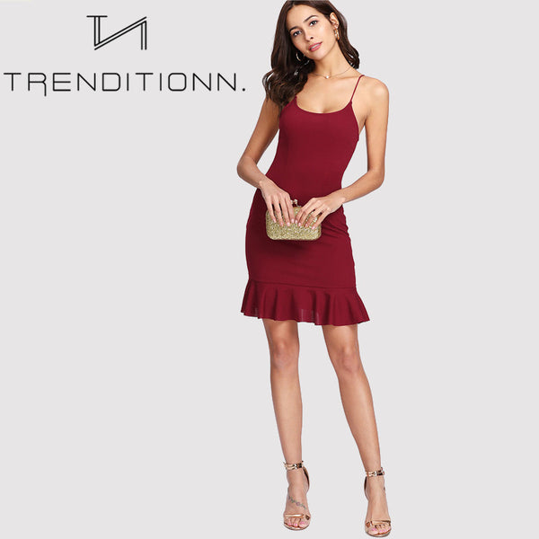 Burgundy fitted dress
