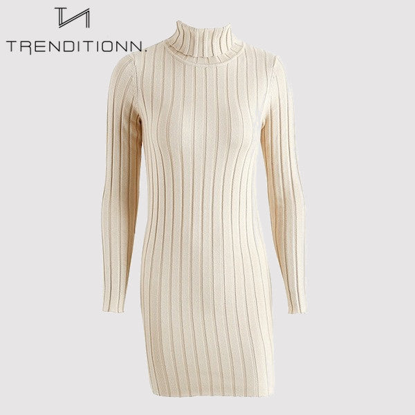 Fitted dress with turtle neck | Trenditionn.