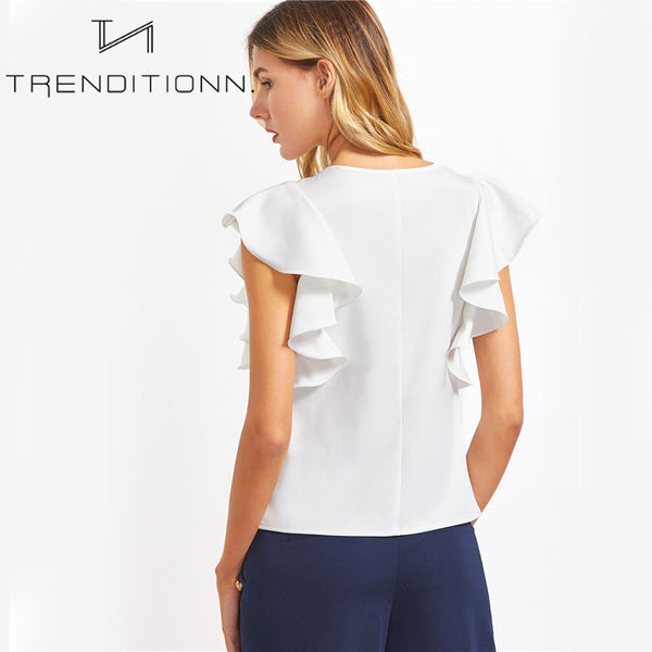 White blouse with short ruffle sleeves